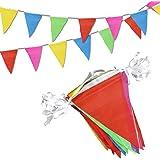 Novelty Place 30 metros Banderines Pancarta - 75 Banderines Colgantes Multicolor - Fiesta de Cumpleaños Gran Apertura Navidad