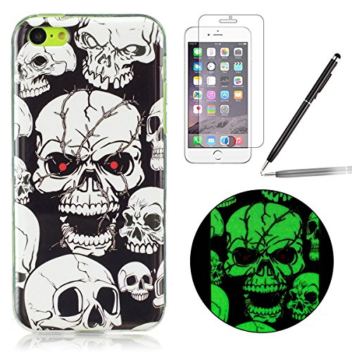 Felfy Coque Pour iPhone 5C,iPhone 5C Silicone Case Cover Ultra Mince Slim Silicone élégant Gel Translucide TPU Souple Motif Design Noctilucent TPU Case Slim Fit Protection Case Coque Bumper Cas Housse Luminous Red Eye