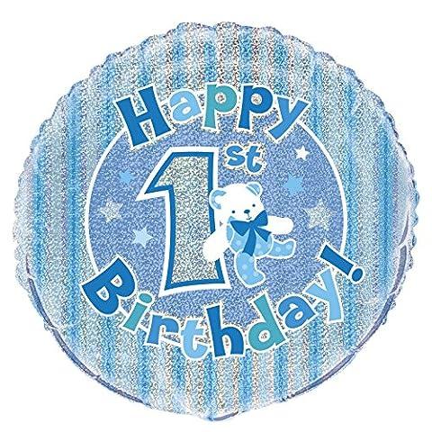 45,7cm Folie Prism blau 1. Geburtstag