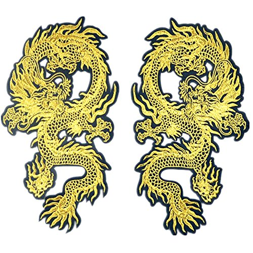 1 par de parches de dragón chino de lucha para planchar o coser, parches bordados, para decoración de ropa, Style 4, 13cmx26cm