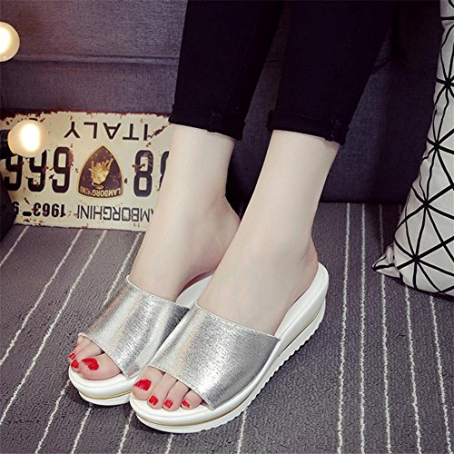 Heart&M Mode féminine Casual Anti-dérapant Flat Sole Wedge Heel Muffin talon solides Sandales couleur Chaussons Silver