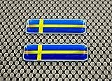 Schweden Flagge 3d Domed Aufkleber Set