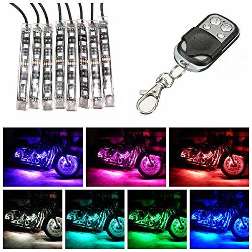 Preisvergleich Produktbild AUDEW Motorrad ATV 8 Streifen 6LED RGB Licht LED Strips flexibles Licht Remote Kit Multifarbe Licht
