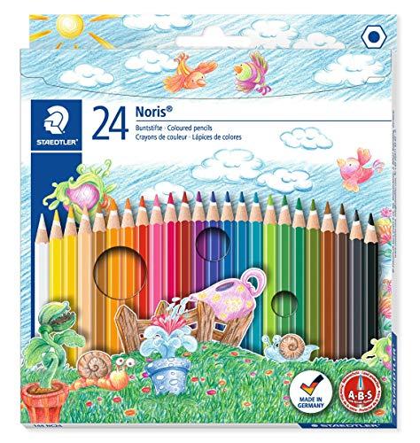 Staedtler Noris Club 144 NC24 Buntstifte, erhöhte Bruchfestigkeit, sechskant, Set mit 24 brillanten Farben, kindgerecht nach DIN EN71, umweltfreundliches PEFC-Holz (Papier-geld-falle)