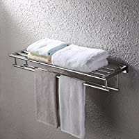 KES A2112 Shelf with Towel Rack Minimalist Stainless Steel Towel Rack with Two Towel Bars