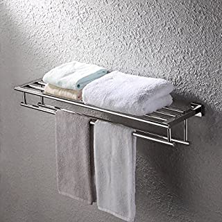 KES 30-Inch Large Towel Rack with Shelf Stainless Steel Double Towel Bar Dual Hanger Storage Organizer Modern Square Style Wall Mount Polished Finish, A2112S30