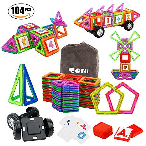 SONi Magnetic Building Blocks 104 PCS Magnetic Tiles Kids STEM Educational Construction Stacking Toys with Vehicle Wheel and Intelligent Cards