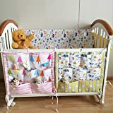 hibote Cotton Multilayer Pouch Storage Bag Multifunction bed hanging Baby Diapers Organiser 55*60CM Cubes (Animals Pattern)