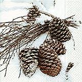 Servietten Zapfen im Schnee / Weihnachten / Natur