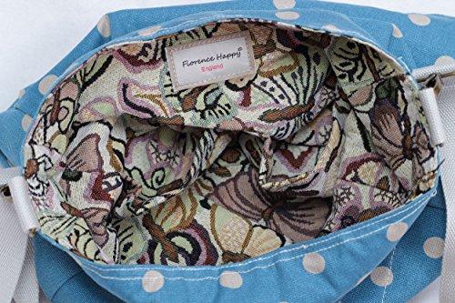 Reversibile borsa a tracolla borsa a tracolla in Tela motivo floreale gufo con stampa thick canvas butterfly / spots