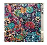Knbob Qualität Duschvorhang Farbige Blume Bunt Duschvorhang Mit Haken Bunt 150X180Cm