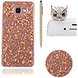 Bling Paillette Coque Pour Samsung Galaxy A3 2016 / A310, SKYXD Transparente Shine Bling Glitter Coque Ultra Slim Crystal Premium Housse Étui Soft Silicone TPU Bling Strass Protection Coque Pour Samsung Galaxy A3 2016 / A310-- Orange Feuille D'or