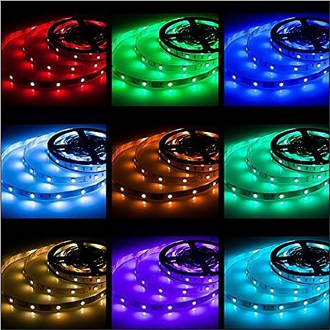 Rxment LED Stripes 5m Streifen Beleuchtung 16.4 Ft 5050 RGB 150 LED Dimmbar Flexible Farbe wechselnden Komplettpaket mit 44 Tasten RF-Fernbedienung, RF Mini Controller, 12V 2A EU (Küche Indirekte Beleuchtung)