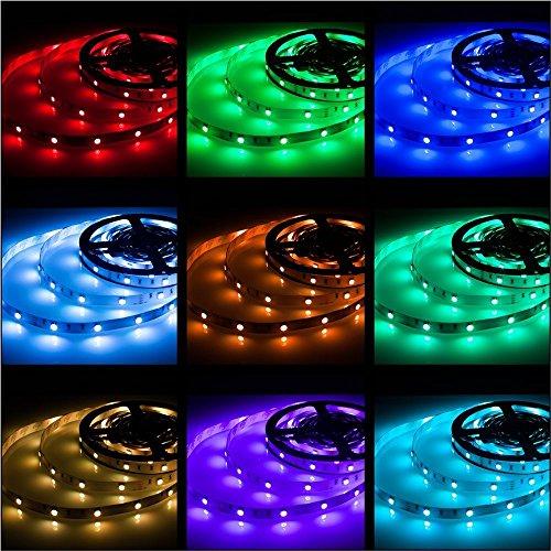 Rxment LED Stripes 5m Streifen Beleuchtung 16.4 Ft 5050 RGB 150 LED Dimmbar Flexible Farbe wechselnden Komplettpaket mit 44 Tasten RF-Fernbedienung, RF Mini Controller, 12V 2A EU Netzteil. (Led-licht-lampe Streifen)