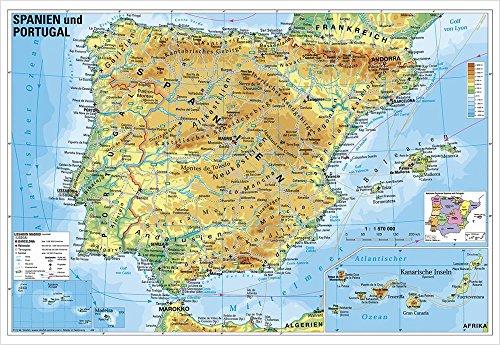 Länderkarte Spanien und Portugal physisch, 95 x 65 cm als Poster