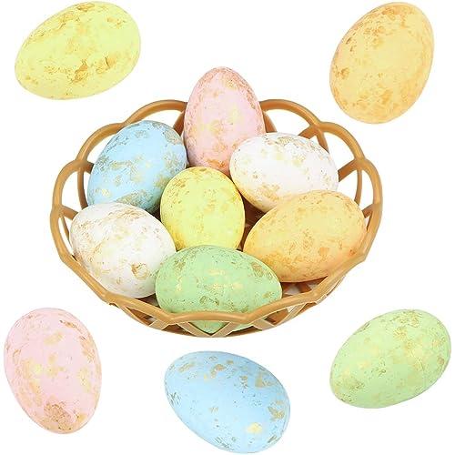 Wishstar Uovo di Pasqua, 12 Pezzi Uova di Pasqua con Due Cesti, Artigianato per Decorazione delle Uovo Pasqua, Addobbi Pasquali, Decorazione da Appendere, Uovo Decorato - 01K