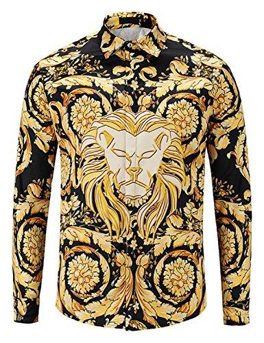Pizoff Herren Luxus Langarm Hemden mit Baroque-Motiven,Y1792-c4,M