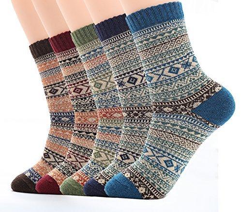 Calcetines de Lana Calientes Para Otoño e Invierno Estilo Vintage Hombre / Mujer 5 pares (Hombre:38-44/ Mujer:37-42, Color 1)
