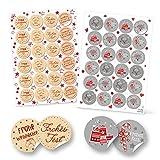 SET 2 x 24 FROHE WEIHNACHTEN Aufkleber Verpackung Zukleben von Papiertüten Geschenktüten weihnachtlich Deko Geschenkaufkleber rot grau natur weiß Sticker rund 4 cm Etiketten