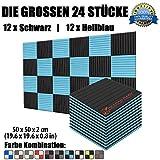 Super Dash 24 Stucke von 50 X 50 X 2 cm Schwarz & Hellblau Akustikschaumstoff Noppenschaumstoff Akustik Dämmmatte Schallisolierung Schaumstoff Polster Fliesen SD1035 (SCHWARZ & HELLBLAU)