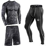 MEETEU 3Pcs Conjunto de Compresión Hombre Camiseta Compresión Deportiva Running Pantalones Compresión Largos Leggings Hombre