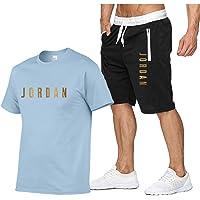 Jordan Lettere Stampa Sport T-shirt, Uomo Casual Tuta Manica Corta Running Jogging Sport T-shirt e Pantaloncini Vestito…