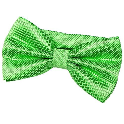 DonDon Herren Fliege 12 x 6 cm gebunden mit Hakenverschluss und größenverstellbar für besondere Anlässe grün