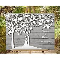 Hochzeitsgästebuch Hochzeitsbaum von CristalPainting - Für 50 Gäste Wedding Tree Grau Gästealbum Hochzeitsalbum Leinwanddruck auf Keilrahmen 70x50