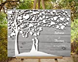 80x60 cm Leinwanddruck-Gästebuch, Hochzeitsbaum, Wedding Tree, Rustikales Gästebuch, Leinwanddruck - Baum, Keilrahmen und Holz Motiv