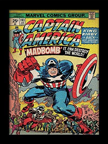 Preisvergleich Produktbild Captain America Madbomb Gel beschichtet Gerahmter Druck,  mehrfarbig,  30 x 40 cm