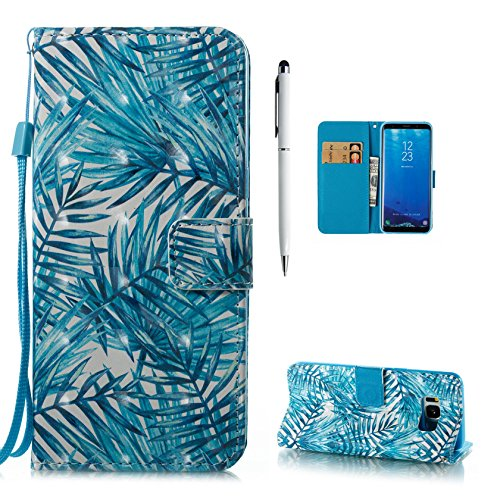 Custodia Cover per Samsung Galaxy S8 Plus Cover [Non per S8], Libro Portafoglio in Pelle PU Custodia Flip 3D Disegni con Interno Silicone Sottile Case Copertura, Hancda Colorate Magnetica e Funzione d Foglia