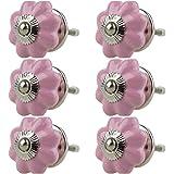 Keramiska möbelknoppar blandade set 6 st 051GN pumpa blomma rosa – handmålad porslin låda drar skåpknopp handtag – Jay Knopf