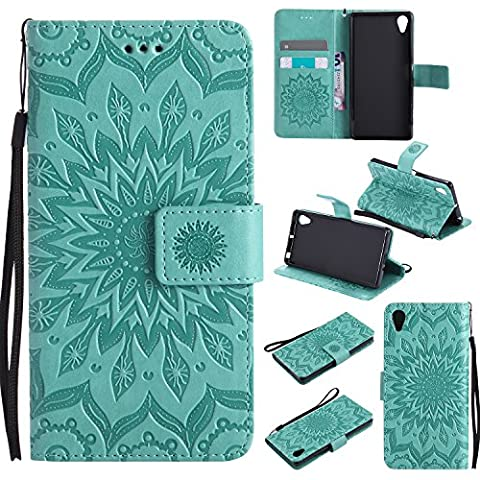 Sony Xperia X Case Leather, Ecoway Sun flower embossed pattern PU Leather Stand Function Protective Cases Covers with Card Slot Holder Wallet Book Design Detachable Hand Strap for Sony Xperia X - green