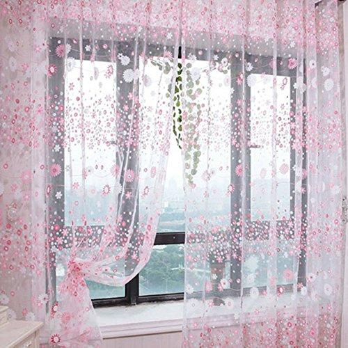 Per lo screening aihometm-tenda in voile plissettata a doppia asola, in tulle, motivo: bucolicobucolico bay window orizzontale per bagno, nella stanza doccia, con divisore, rosa, size b
