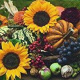 Servietten (2er Set / 40Stück) 3-lagig 33x33cm Herbst Sonnenblumen Autumn is coming