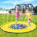 PELLOR Splash Spielmatte 68in Outdoor Garten Wasserspielzeug Splash Pad Sprinkle Spaß Wassermatte Familienaktivitäten für Kinder, Hund