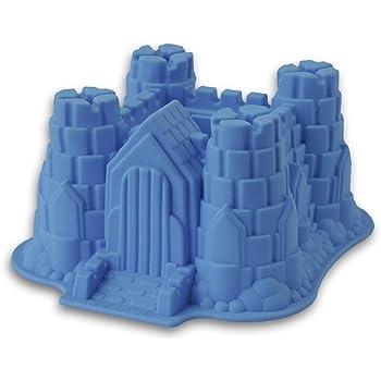 Silikon-Form, Modell: Ritterburg / Schloss, geeignet zum Backen von Kuchen und Torten sowie zur Zubereitung von Eis oder Götterspeise. Eine tolle Überraschung für Partys und Geburtstage (blau)