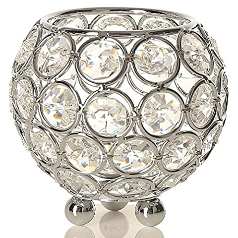 VINCIGANT Crystal Bowl Candle Holders,Decorative Candle Lantern for Home Decor,Wedding Centrepieces Candelabra Silver,8cm Diameter