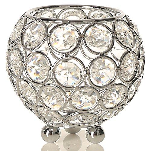 VINCIGANT Kristall Kerzenhalter Silber Votivkerze Kerzenständer für Party Home Hochzeit Dekoration,8cm Dia Teelichthalter Kerzenständer Metall