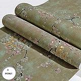Wallpaper Nichtgewebte amerikanische Retro Tapete 3D Garten große Blume Schlafzimmer Wohnzimmer Sofa TV Hintergrundbild AB Spiel (Color : A-Bronze)