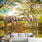 Loaizh 3D Tapete Wandbild Wandaufkleber Wallpaper Giraffe Gewohnheit Verzierend Foto Babyelefant Giraffenhintergrundhauptdekor Dekoration 300Cmx200Cm