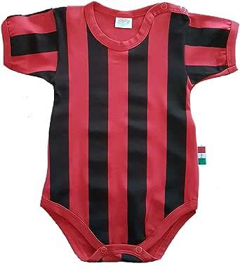 Zigozago Body Made in Italy a Manica Corta a Righe Rosso Nero Stampate Fatto a Mano in Cotone