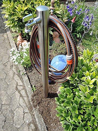 Wasserzapfstelle Edelstahl Wasserzapfsäule Wasserverteiler mit Schlauchhalter 85cm WS6085SH