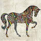 QTZJYLW Kunst Wandaufkleber Mode Kunst Pferd Tier Muster Aufkleber Wohnzimmer Hintergrund Dekoration Wandaufkleber (37 × 47 cm)