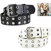 XLKJ 2 pezzi Cintura con Doppia Fibbia Donna,Cintura in Pelle con Borchie Punk Cintura Moda Donna Jeans Cintura in Pelle…