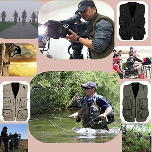 CUTICATE Cargo Fishing Multi Pocket Taktische Jacke Weste Utility Kostüm Weste - Armee Grün, XL (Multi Arm Kostüm)