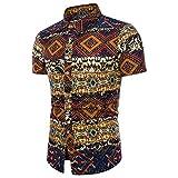 UJUNAOR Männer Shirt Sommer Bohé Blumendruck Kurzarm Hawaii Grundlegende Bluse Top für Oktoberfest Plus Größe(Gelb,CN 2XL)