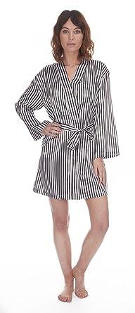 Varsani Clothing Ladies Womens Sexy Satin Stripe Silk Kimono Robe ...