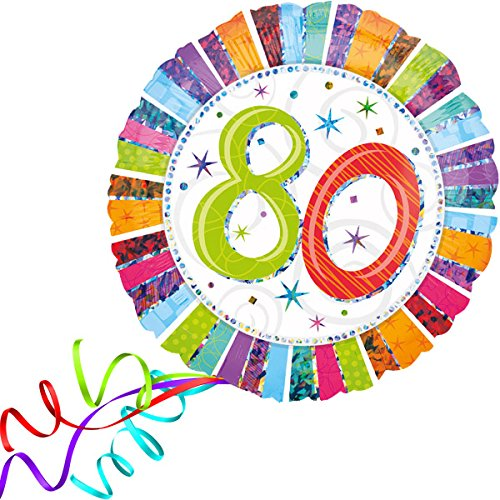 Preisvergleich Produktbild Folienballon 80 GLITZER XXL 45cm, mit Helium gefüllter Luftballon zum Geburtstag + PORTOFREI + Geschenkkartenset. High Quality Premium Ballons vom Luftballonprofi & deutschen Heliumballon Experten. Tolle Luftballon Geschenkidee zum Geburtstag und Ballon Deko zum Geburtstag