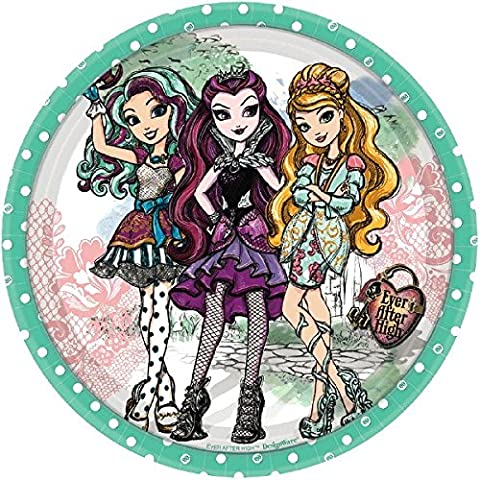 Amscan Girls Fabulous Ever After High Birthday Party Round Dessert Plates (Pack Of 8), Green, 7